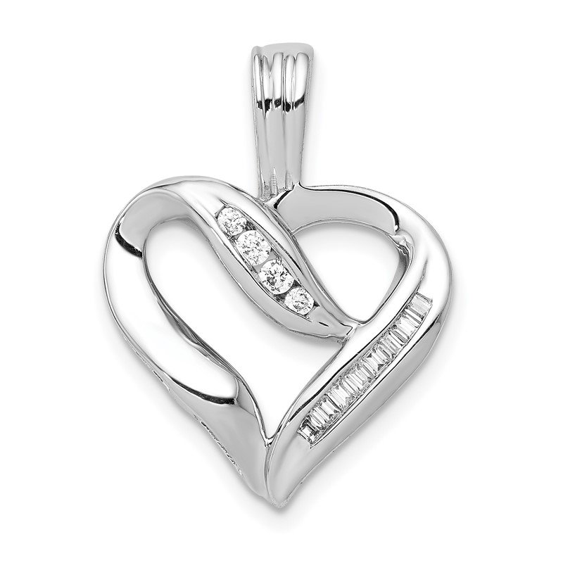 Quality Gold 14k White Gold 1/8ct. Diamond Heart Pendant