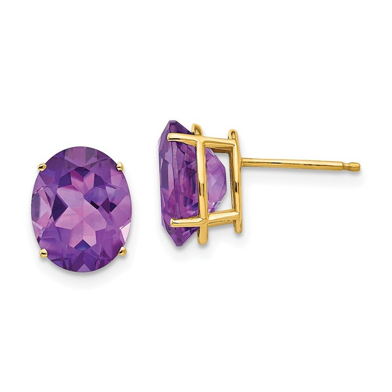 Quality Gold 14k 10x8mm Oval Amethyst Earrings