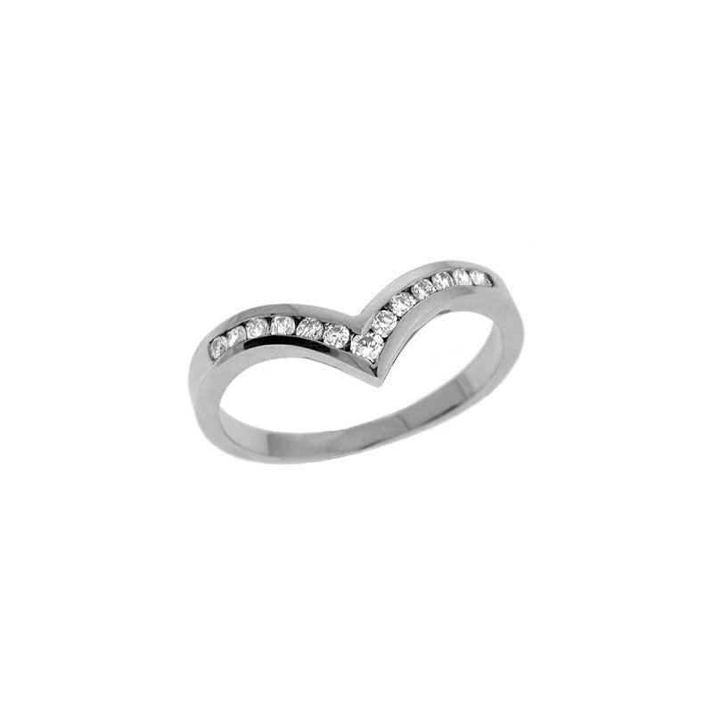 S. Kashi & Sons Bridal V Shape Band White Gold