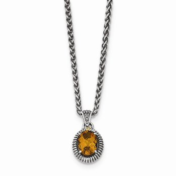 Sterling Silver w/14ky Citrine Oval Necklace