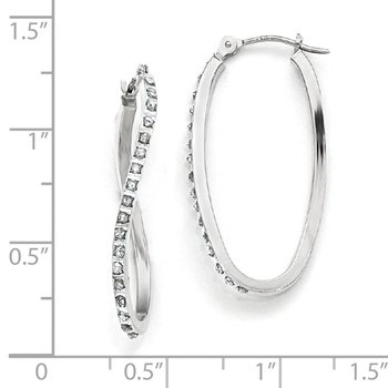 14k White Gold Diamond Fascination Twist Hinged Hoop Earrings