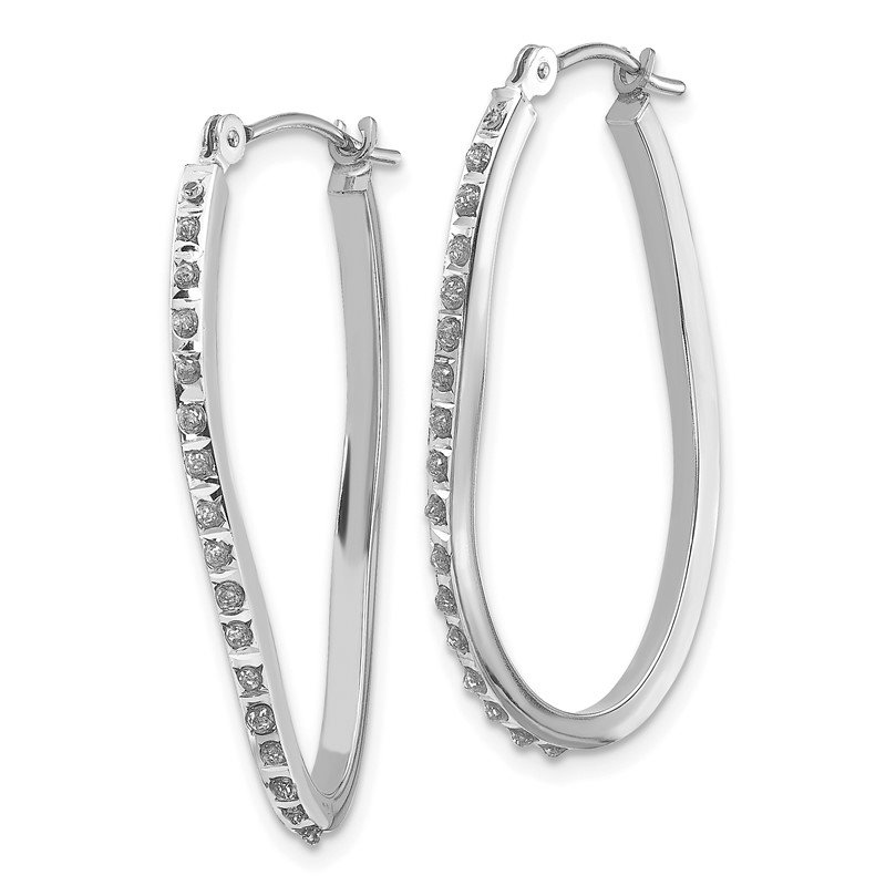 Quality Gold 14k White Gold Diamond Fascination Twist Hinged Hoop Earrings