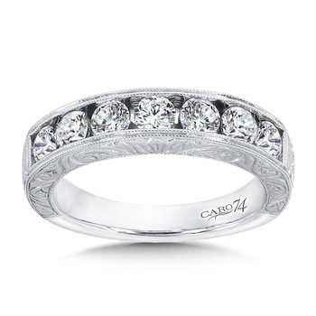 CARO 74 Channel-set Diamond Anniversary Band in 14K White Gold with Hand Engraving in 14K White Gold