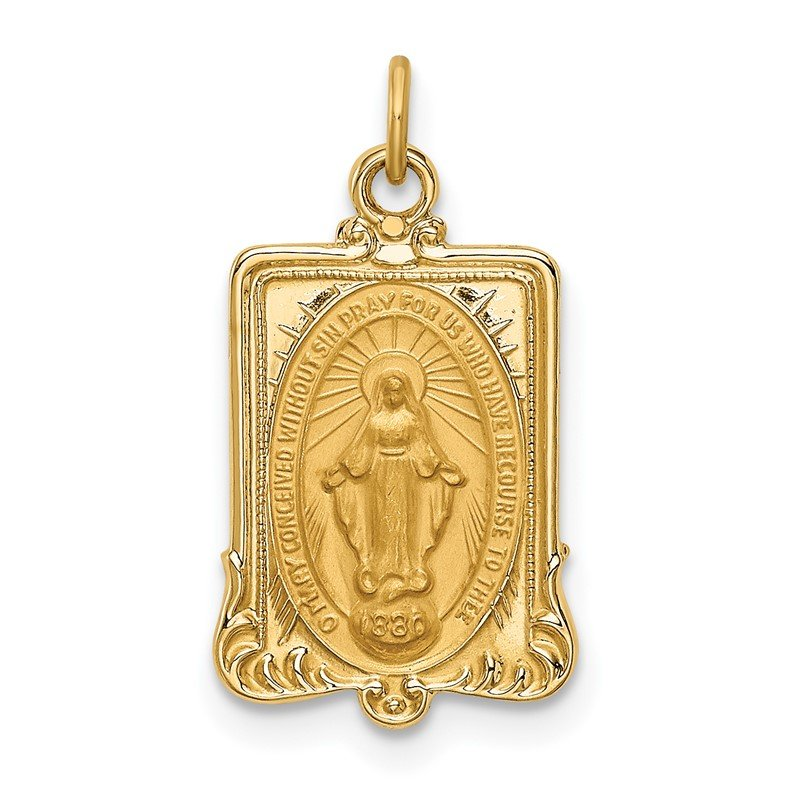 Quality Gold 14k Solid Polished/Satin Rectangular Miraculous Medal