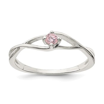 Sterling Silver Pink CZ Sol Ring