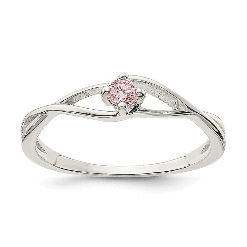 Quality Gold Sterling Silver Pink CZ Sol Ring