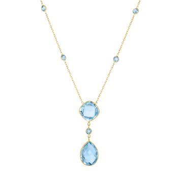 14K Gold Blue Topaz Drop Necklace
