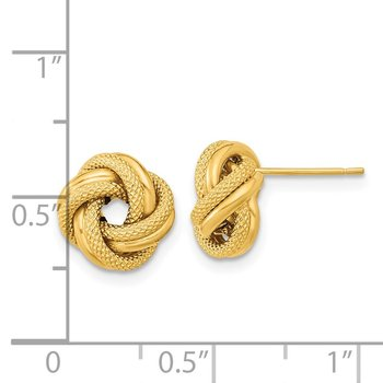 14k Polished Textured Double Love Knot Post Earrings