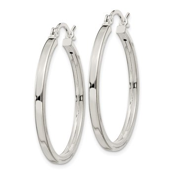 Sterling Silver 2.5x30mm Polished Hoop Earrings