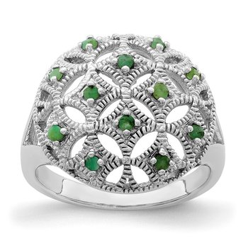 Sterling Silver Rhodium-plated Emerald Circle Ring