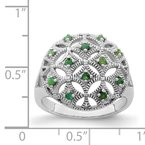 Quality Gold Sterling Silver Rhodium-plated Emerald Circle Ring