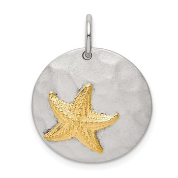 Sterling Silver Gold-Tone Starfish Brushed Pendant