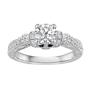 14KW 1.10CTW RD CTR HAND ENGRAVED BRIDAL RING