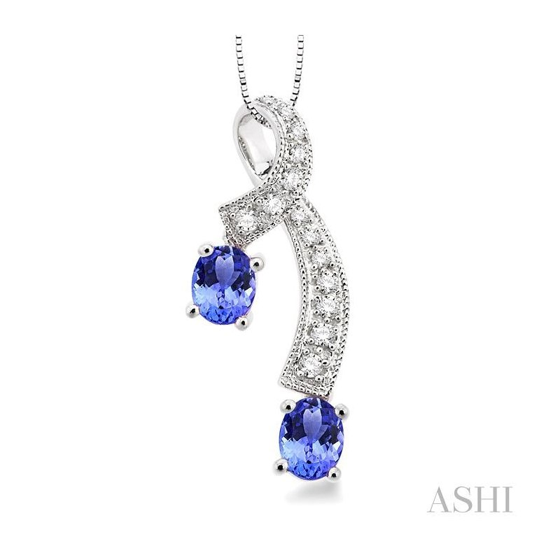 Gemstone Collection oval shape gemstone & diamond pendant