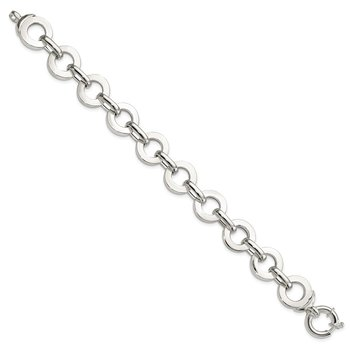 Sterling Silver Polished Circle Fancy Link 7.5 inch Bracelet