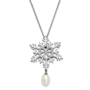 Sterling Silver Freshwater Cultured Pearl & CZ Kisses From Heaven Necklace