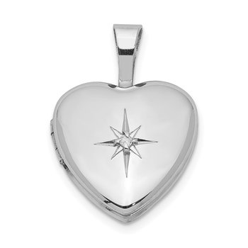 Sterling Silver Rhodium-plated & Diamond Star Polished 12mm Heart Locket
