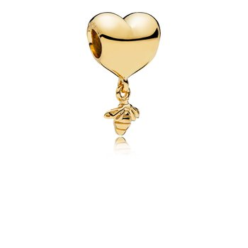 Heart Bee Charm, Pandora Shine™