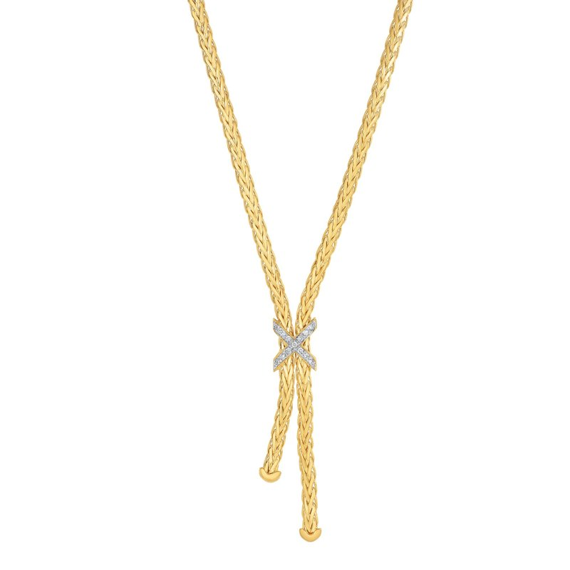 Royal Chain 14K Gold Woven Lariat X Diamond Necklace