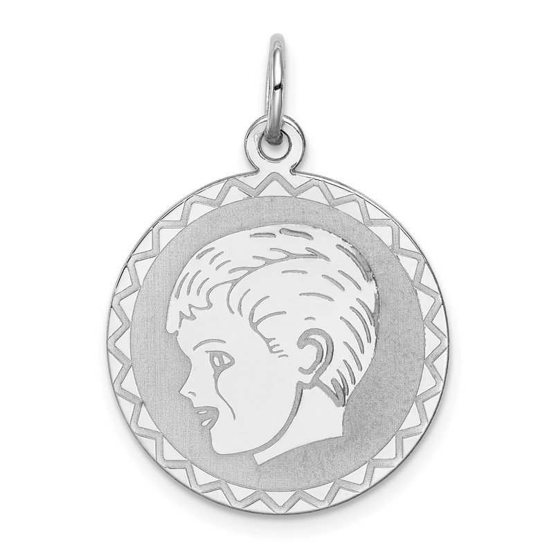 Quality Gold Sterling Silver Rhodium-plated Engraveable Boy Disc Charm