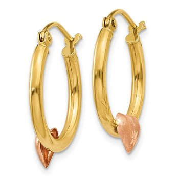 14K Yellow & Rose Gold Heart D/C Hoop Earrings