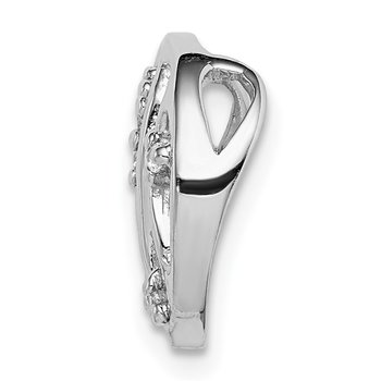 Sterling Silver Rhodium-plated CZ Filigree Chain Slide