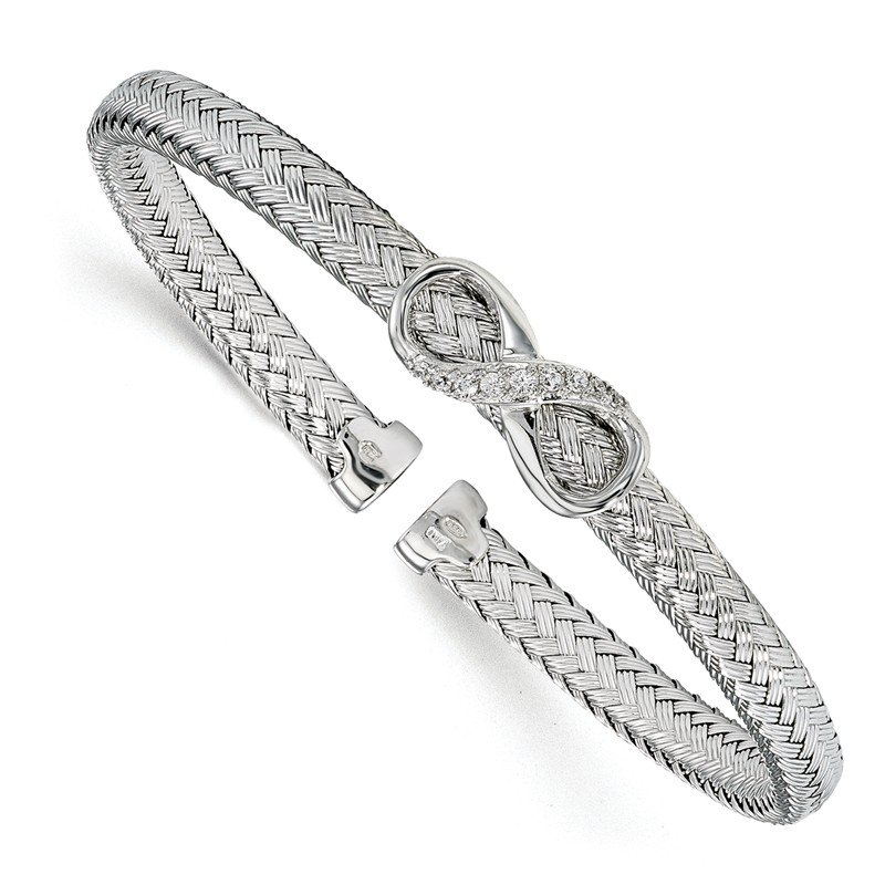 Leslie's Leslie's Sterling Silver CZ Infinity Woven Cuff Bangle