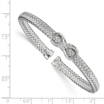 Leslie's Sterling Silver CZ Infinity Woven Cuff Bangle