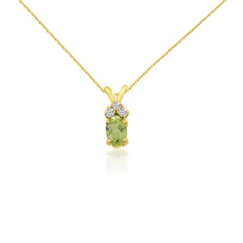 14K Yellow Gold Oval Peridot Pendant with Diamonds