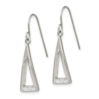 Stainless Steel Polished w/ Preciosa Crystal Shepherd Hook Dangle Earrings