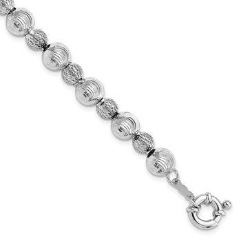 Sterling Silver Rhodium Plated Textured Bead Bracelet