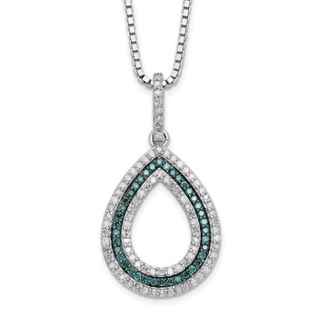 Sterling Silver Rhod Plated Blue and White Diamond Teardrop Pendant Necklac
