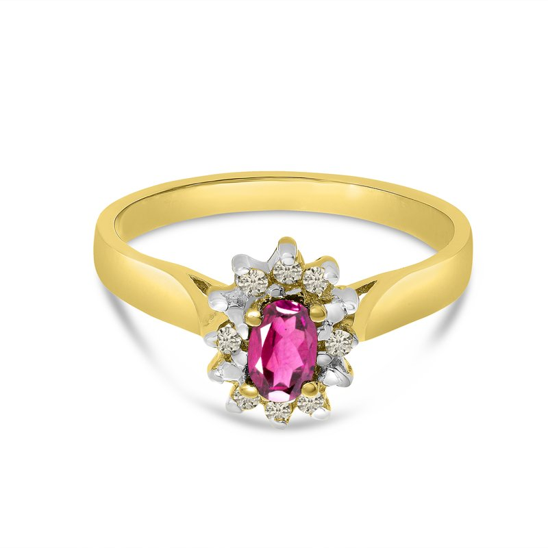 Color Merchants 10k Yellow Gold Oval Pink Topaz And Diamond Ring
