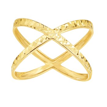14K Gold Diamond Cut CrissCross Ring