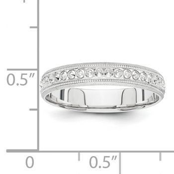 14K White Gold 3mm Design Etched Wedding Band