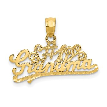 14k Diamond-cut #1 Grandma Pendant
