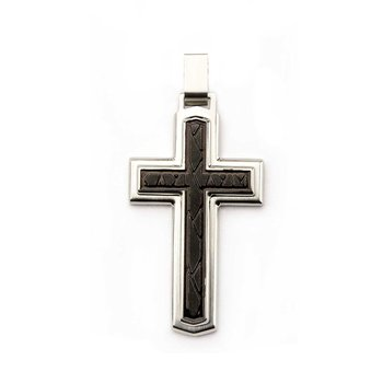 Steel And Black Pvd Plating Two Layered Cross Pendant