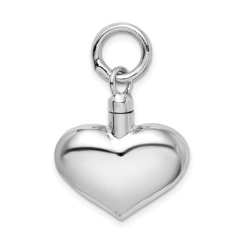 Sterling Silver Rhodium-plated Polished Puffy Heart Ash Holder Pendant