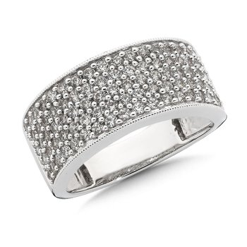 Pave set Wide Diamond Band Ring 14k White Gold (1ct. tw.) HI/I1
