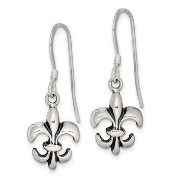 Sterling Silver Antiqued Fleur De Lis Earrings