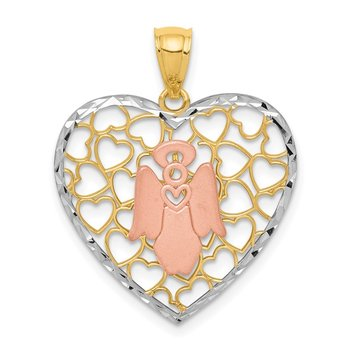 14K Two-tone White Rhodium D/C Brushed & Polished Angel Heart Pendant