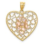 Quality Gold 14K Two-tone White Rhodium D/C Brushed & Polished Angel Heart Pendant