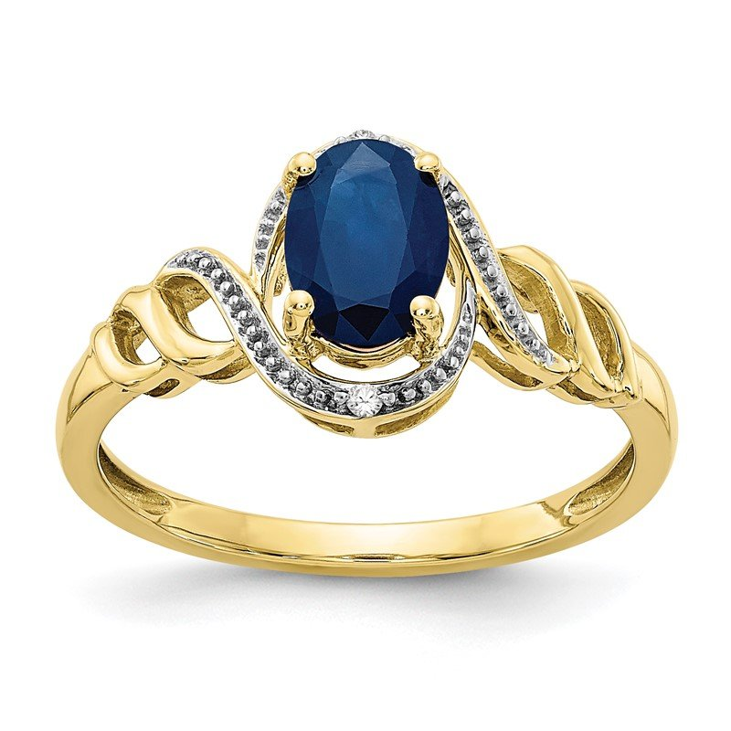 Quality Gold 10K Sapphire and Diamond Ring