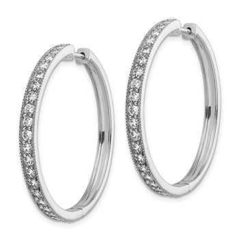 14k White Gold Diamond Milgrain Hinged Hoop Earrings