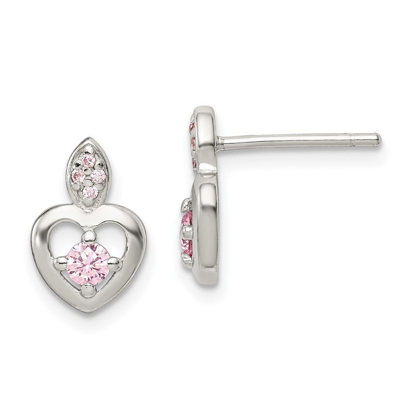 Quality Gold Sterling Silver Pink CZ Heart Post Earrings