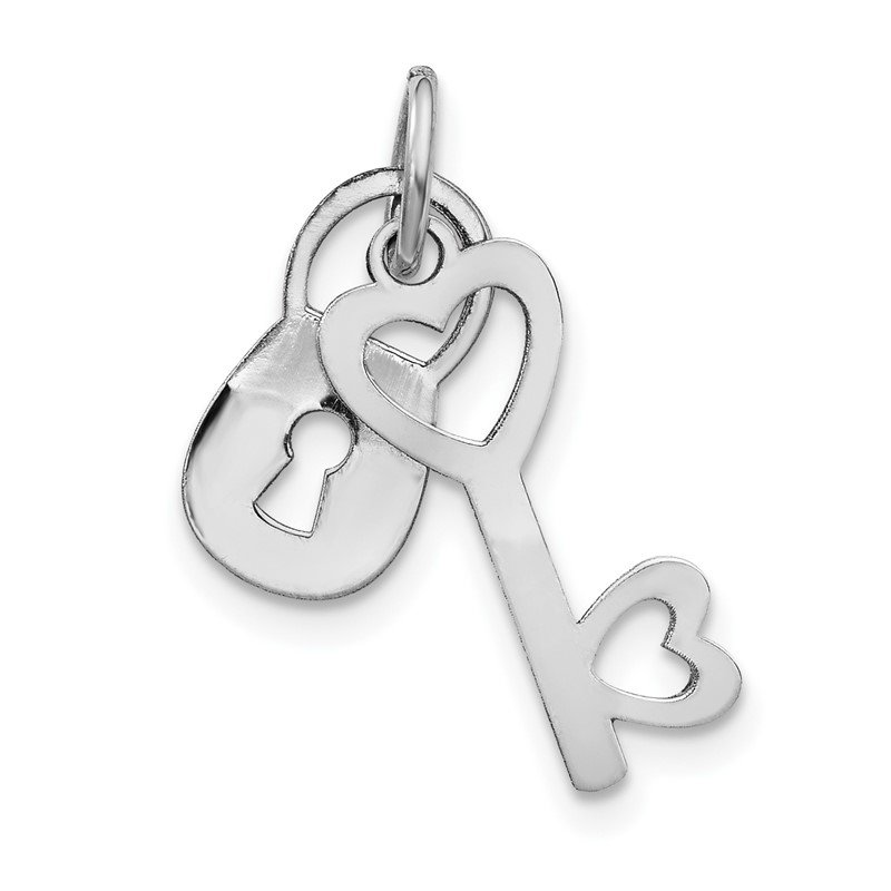 Quality Gold 14k White Gold Polished Moveable Lock and Heart Key Charm
