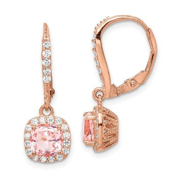 Sterling Silver Rose-tone Pink Crystal and CZ Halo Leverback Earrings