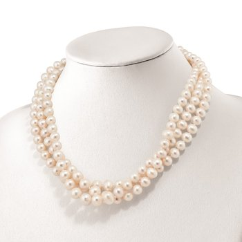 Sterling Silver RH 6-11mm White FWC Pearl 3-strand Grad Necklace