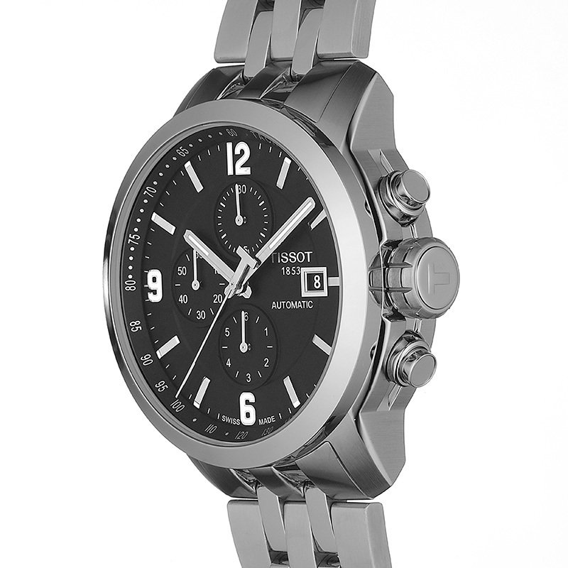 PRC 200 Men's Automatic Chrono Watch with Stainless Steel Bracelet and Black Dial