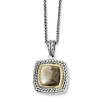 Sterling Silver w/14k Black Mother of Pearl 18in Necklace